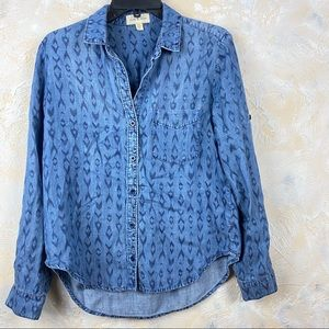 Cloth & Stone Aztec Denim Button Down Shirt